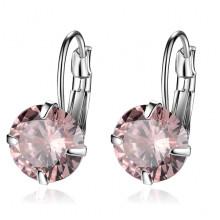 1G0027-1 Серьги с посеребрением, цвет нежно-розовый,21х11х5мм
