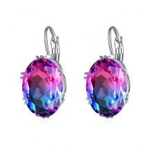 1G0028-1 Серьги с посеребрением, цвет розовый/синий, 29х13х5мм