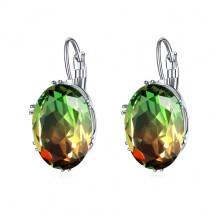 1G0028-2 Серьги с посеребрением, цвет зелёный/красный, 29х13х5мм