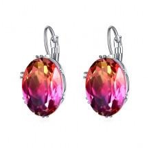 1G0028-3 Серьги с посеребрением, цвет оранжевый/розовый, 29х13х5мм