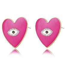 1G0035-2 Серьги Сердце с эмалью, 25х20х15мм, цвет малиновый