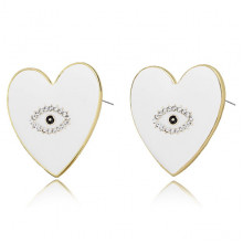 1G0035-3 Серьги Сердце с эмалью, 25х20х15мм, цвет белый