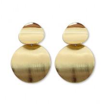 1G0061-1 Серьги Круг, цвет золотой, 45х30х10мм