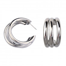 1G0070-2 Серьги Три кольца, цвет серебряный, 30х35х10мм