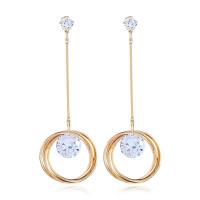 1G0084-1 Серьги Кольцо с кристаллами 81х11мм, цвет золотой