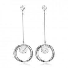 1G0084-2 Серьги Кольцо с кристаллами 81х11мм, цвет серебряный