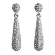 1G0088-2 Серьги Капля, 60х15х10мм, цвет серебряный