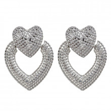 1G0090-2 Серьги Сердце, цвет серебряный, 40х30х10мм