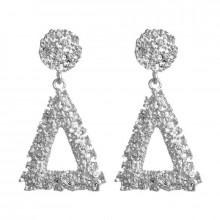 1G0096-2 Серьги Треугольник, цвет серебряный, 60х30х10мм