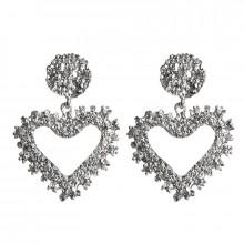 1G0097-2 Серьги Сердце, серебряный, 50х35х10мм