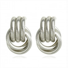 1G0103-2 Серьги Кольца, цвет серебряный, 30х20х10мм