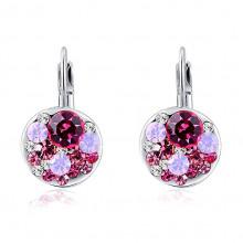 1G0112-1 Серьги с розовыми кристаллами 23х13мм