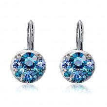 1G0112-2 Серьги с голубыми кристаллами 23х13мм