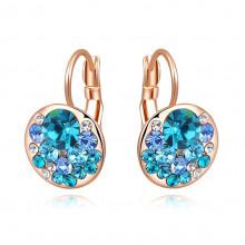 1G0113 Серьги с позолотой и голубыми кристаллами 21х13мм