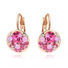 1G0115 Серьги с позолотой и розовыми кристаллами 21х13мм