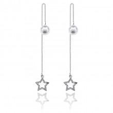 1G0161 Серьги - протяжки Звезда с жемчугом 115х9мм
