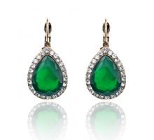 1G0213-2 Серьги Капля с остразами, цвет зелёный