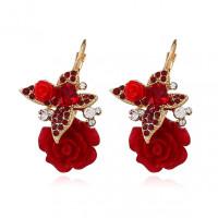 1G0214-3 Серьги Бабочка и роза, цвет красный