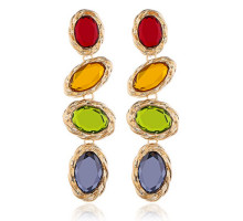 1G0257 Серьги Овалы, 4 цвета