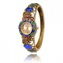 1H0001-01 Часы-браслет с эмалью, цвет античное золото