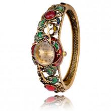 1H0001-02 Часы-браслет с эмалью, цвет античное золото