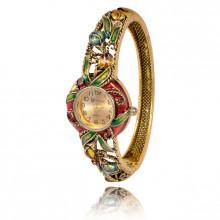 1H0001-03 Часы-браслет с эмалью, цвет античное золото