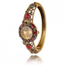 1H0001-04 Часы-браслет с эмалью, цвет античное золото