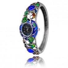 1H0001-05 Часы-браслет с эмалью, цвет серебро