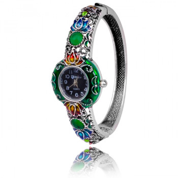 1H0001-06 Часы-браслет с эмалью, цвет серебро
