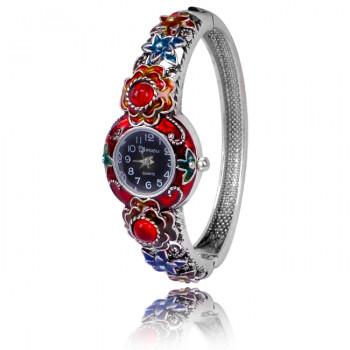 1H0001-07 Часы-браслет с эмалью, цвет серебро