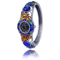1H0001-08 Часы-браслет с эмалью, цвет серебро