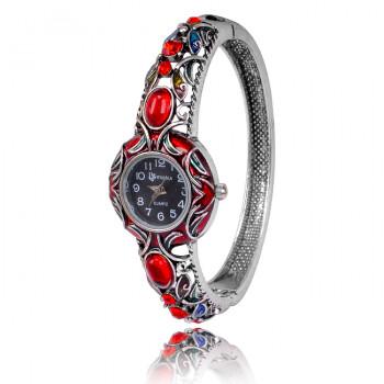 1H0001-09 Часы-браслет с эмалью, цвет серебро