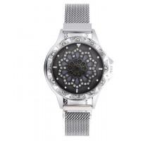 1H0003-7 Часы с вращающимся циферблатом, цвет серебряный