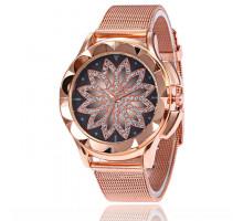 1H0005 Наручные часы со стразами, цвет золотой
