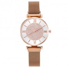 1H0006-1 Наручные часы со стразами, цвет золотой