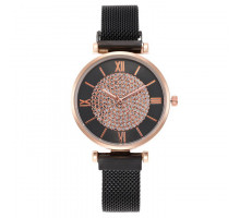 1H0006-2 Наручные часы со стразами, цвет чёрный
