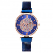 1H0006-3 Наручные часы со стразами, цвет чёрный