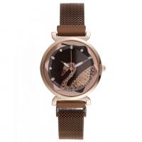 1H0007-1 Часы Лебедь со стразами, цвет коричневый