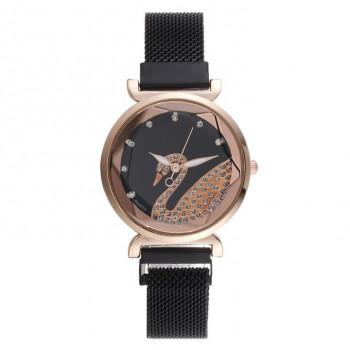 1H0007-2 Часы Лебедь со стразами, цвет чёрный