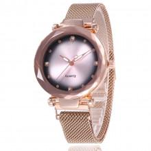 1H0008-1 Наручные часы со стразами, цвет золотой