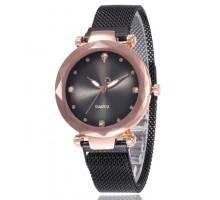 1H0008-2 Наручные часы со стразами, цвет чёрный