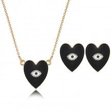 1I0001-1 Набор из кулона и серёг Сердце с эмалью, цвет чёрный