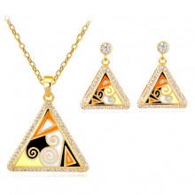 1I0012 Комплект Пирамида (серьги и кулон с цепочкой)