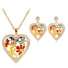 1I0014 Комплект Сердце (серьги и кулон с цепочкой)