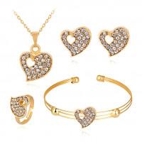 1I0023 Комплект Сердце (браслет, кольцо, серьги, кулон с цепочкой)