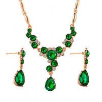 1I0024-1 Комплект Венеция (колье и серьги), цвет зелёный