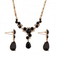1I0024-5 Комплект Венеция (колье и серьги), цвет чёрный