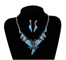 1I0038-1 Комплект Бабочка (колье, серьги), цвет голубой
