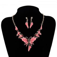 1I0038-2 Комплект Бабочка (колье, серьги), цвет розовый