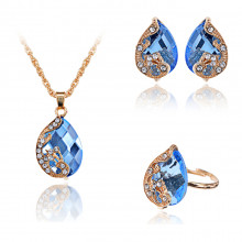 1I0047-2 Комплект Капля (кулон, серьги, кольцо), цвет синий